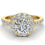 Round Diamond Halo Style Ring in 14K Gold (G,VS) - Yellow Gold