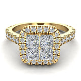 Princess Cushion Halo Diamond Engagement Ring 1.38 ctw 18K Gold (G,SI) - Yellow Gold