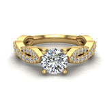 Solitaire Diamond Braided Shank Engagement Ring 14K Gold (I,I1) - Yellow Gold