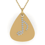Signature Guitar Pick 14K Gold Necklace with Diamond Musical Note Highlights 0.10 ctw (I,I1) - Yellow Gold