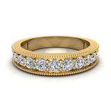 0.87 Carat Diamond Tapering Shank Eternity Band Wedding Ring 18K Gold (G,SI) - Yellow Gold
