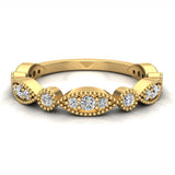 Stacking Circle & Marquee Designer Milgrain Diamond Wedding Band 0.28 Ctw 14K solid Gold (G,I1) - Yellow Gold