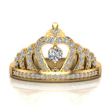Fashion Princess Tiara Crown Diamond Ring 0.50 carat total weight Band Style 14K Gold (G,SI) - Yellow Gold