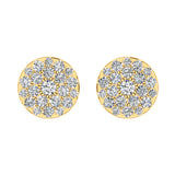 Round Cluster Diamond Earrings 0.56 ctw 14K Gold (I,I1) - Yellow Gold