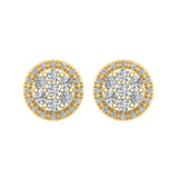 Halo Cluster Diamond Earrings 0.48 ctw 14K Gold (I,I1) - Yellow Gold