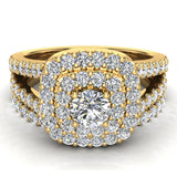Cushion Halo Split Shank Diamond Wedding Ring Set 14k Gold (I,I1) - Yellow Gold