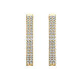 26 mm Diameter Dual Row Inside out Diamond Hoop Earrings Click Lock Setting 1.85 ctw 14k Gold (I,I1) - Yellow Gold