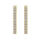 Exquisite 25.99 mm Diameter Inside Out Diamond Hoop Earrings 1.90 ctw 18K Gold Shared Prong Setting  (G,VS) - Yellow Gold