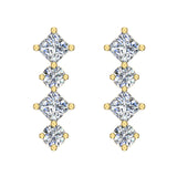 Simplistic Square and Dot Motif Dangle Diamond Earrings 14K Gold 1.64 ctw (I,I1) - Yellow Gold