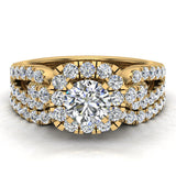 Wedding Ring Set for Women Accented Diamond Loop Shank 1.00 - 1.05 ctw Carat 14K Gold (G,SI) - Yellow Gold