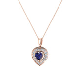 Dainty Blue Sapphire & Halo Diamond Heart Necklace 14K Solid Gold ¾ ctw - Rose Gold