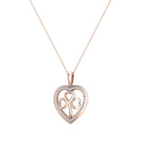 Heart Necklace 14K Gold Diamond Halo with Exquisite Styling (G,I1) - Rose Gold