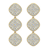 Cushion Halo Diamond Cluster Chandelier Earrings Waterfall Style 14K Gold (G,SI) - Yellow Gold