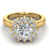 Halo Engagement Ring Classic Style Floral Halo Shared Prong Setting 14K Gold 1.30 Carat Total Weight (I,I1) - Yellow Gold