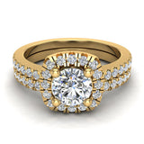 Ravishing Round Cushion Halo Diamond Wedding Ring Set 1.40 ctw 18K Gold (G,SI) - Yellow Gold