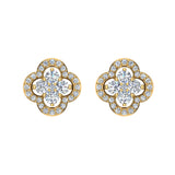 Unique Diamond Loop Stud Earrings Cluster 14K Gold (I,I1) - Yellow Gold