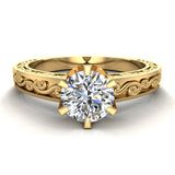 0.75 Carat Vintage Style Filigree Engagement Ring 18K Gold (G,SI) - Yellow Gold
