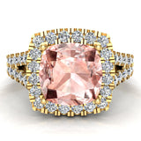 Cushion Cut Pink Morganite Halo Engagement Ring 14K Gold (I,I1) - Yellow Gold