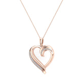 14K Gold Necklace Petite Heart Diamond Pendant Pave set ⅙ ctw (G,I1) - Yellow Gold