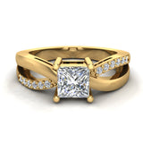 Infinity Shank Promise Diamond Ring 14K Gold 0.75 Ctw (G,I1) - Yellow Gold