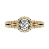 Vintage Look 14K Gold Split Shank Diamond Engagement Ring (G,SI) - Yellow Gold