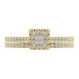 Princess Cut Square Halo Diamond Wedding Ring Set 0.59 Carat Total 18K Gold (G,VS) - Yellow Gold