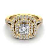 Magnificent Princess Diamond Cushion Halo V Shank Engagement Ring 1.47 ctw 14K Gold (G,I1) - Yellow Gold