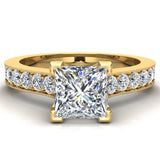 Princess Cut with Accent Diamonds in Cathedral Style Ring 14k Gold (G,SI) - Yellow Gold