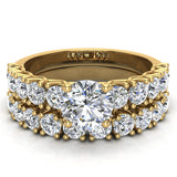 Trellis Round Diamond Wedding Ring Set 2.05 ctw 14K Gold (I,I1) - Yellow Gold