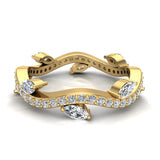 Contemporary Leaf Style Diamond Wedding Ring 0.90 ctw 14K Gold (I,I1) - Yellow Gold