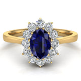 September Birthstone Blue Sapphire Oval 14K Gold Diamond Ring 0.80 ct tw - Yellow Gold