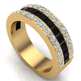 Mens Wedding Rings / Unisex Black Diamond 14K Solid Gold  Accented Wide Halfway Diamond Ring 3.72 carat tw - Yellow Gold