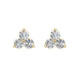 Three Stone Triangle Setting Diamond Stud Earring 18K Gold (G,VS) - Yellow Gold