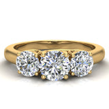 Round Brilliant Diamond Three Stone Anniversary Wedding Ring in 14K Gold (G,VS1) - Yellow Gold
