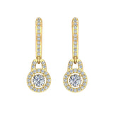 Dangle Drop Shape Halo Diamond Earrings 14K Gold (I,I1) - Yellow Gold