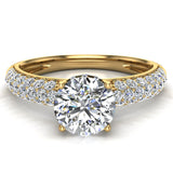 Glitz Design Trio Pave Three row Diamond Engagement Ring 14K Gold 1.20 ct (G,SI) - Yellow Gold