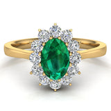May Birthstone Emerald Oval 14K Gold Diamond Ring 0.80 ct tw - Yellow Gold