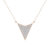 14K Gold Chevron Shape Arrow Pendant Pavé set Diamonds Necklace 0.50 Carat Total Weight (G,SI) - Rose Gold