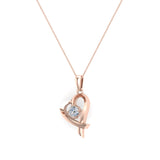 Dainty Heart Pendant Round 4mm Diamond Necklace 14K Solid Gold 0.25 CTW (I,I1) - Rose Gold