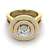 Statement Round Diamond Double Halo Split Shank Engagement Ring 1.77 ctw 14K Gold (I,I1) - Yellow Gold