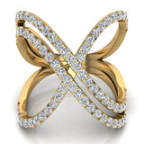 Multi Row Diamond Cocktail Knuckle Ring 14K Gold (G,SI) - Yellow Gold
