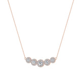 Statement Journey Halo Diamond Necklace 18K Gold 3.19 ctw (G,SI) - Rose Gold