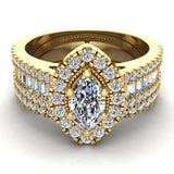 Statement Band Marquise Cut Halo Diamond Engagement Ring Baguettes 1.43 Carat Total 14K Gold (I,I1) - Yellow Gold