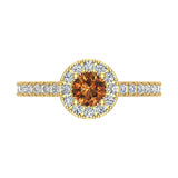 1.00 ct tw Champagne & White Round Diamond Cathedral Style Halo Engagement Ring 14K Gold (J,I1) - Yellow Gold