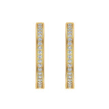 14K Gold Hoop Earrings 26 mm Diamond Line Setting Secure Click-in Lock (I,I1) - Yellow Gold