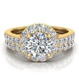 Round Brilliant Cut Halo Diamond Engagement Ring Set 14K Gold (G,SI) - Yellow Gold