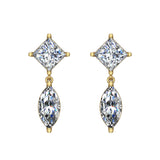 Princess & Marquise Drop Two stone Diamond Dangle Earrings 14K Gold (I,I1) - Yellow Gold