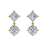 Princess & Round Drop Two stone Diamond Dangle Earrings 14K Gold (I,I1) - Yellow Gold