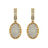 Pave Set Oval Dangle Diamond Earrings 18K Gold (G,VS) - Yellow Gold