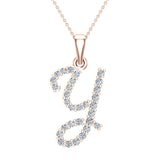 Initial Necklace Y Letter charms Diamond pendant necklace 18K Gold (G,VS) - Rose Gold